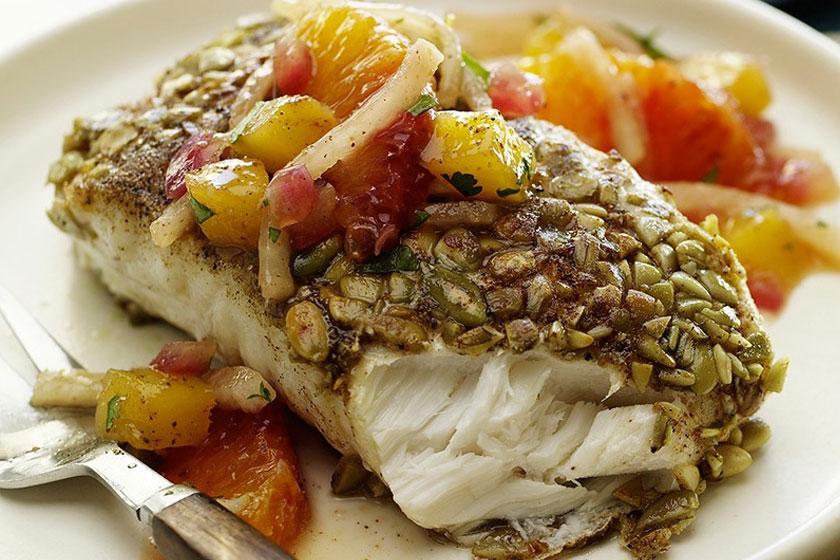 Herb crusted fish with jicama salad