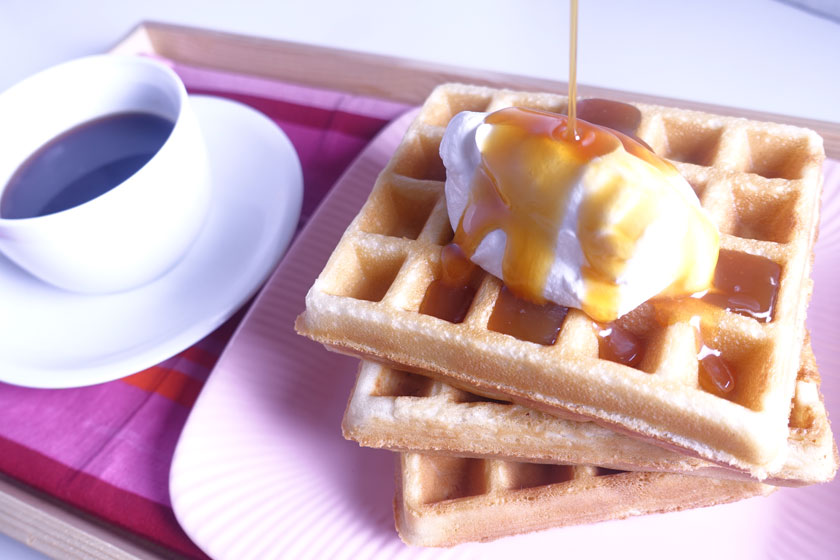 Crisp Waffles with Warm Butterscotch Sauce