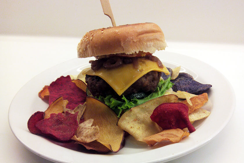Gourmet Burger with Real Vegetable Chips