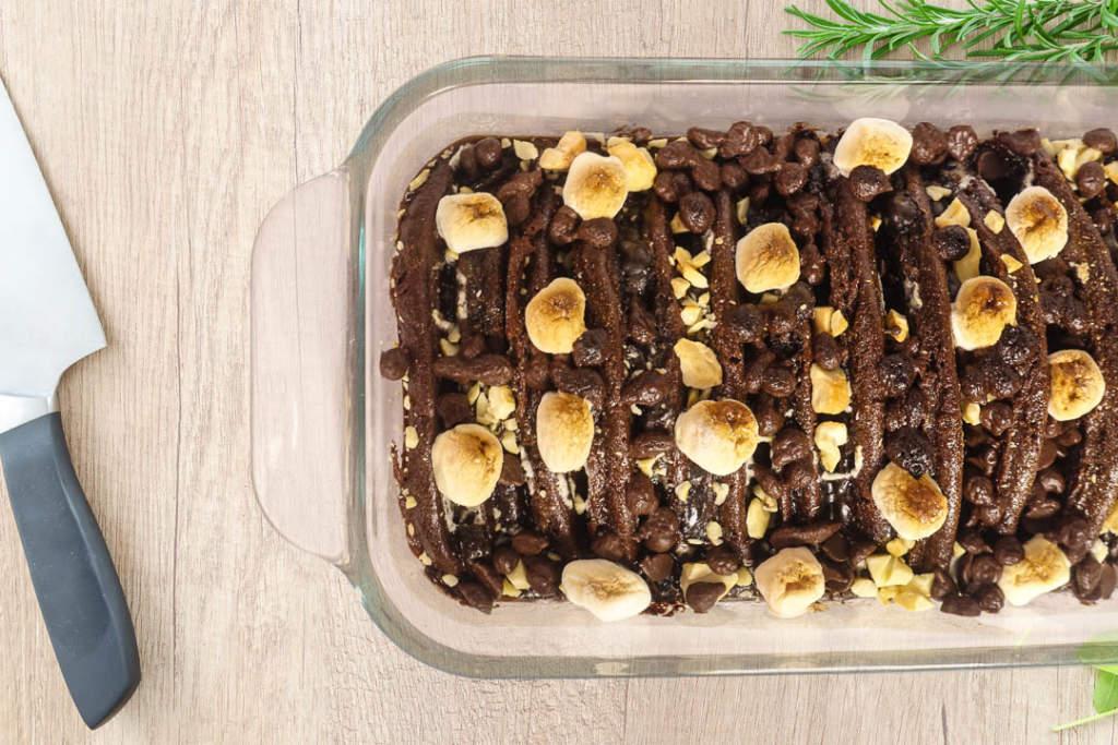 Chocolate Mallow Hotcake Pudding