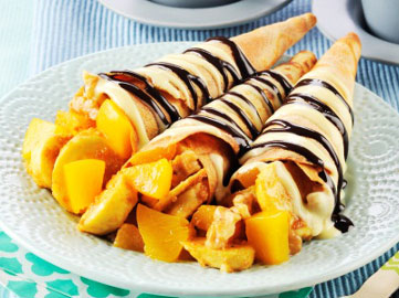 Crispy Crepe Cones with Banana Peach Fillings Recipe