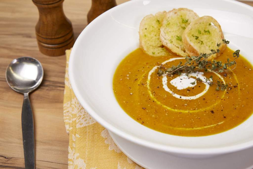 Cream of Squash and Carrot Thyme Soup
