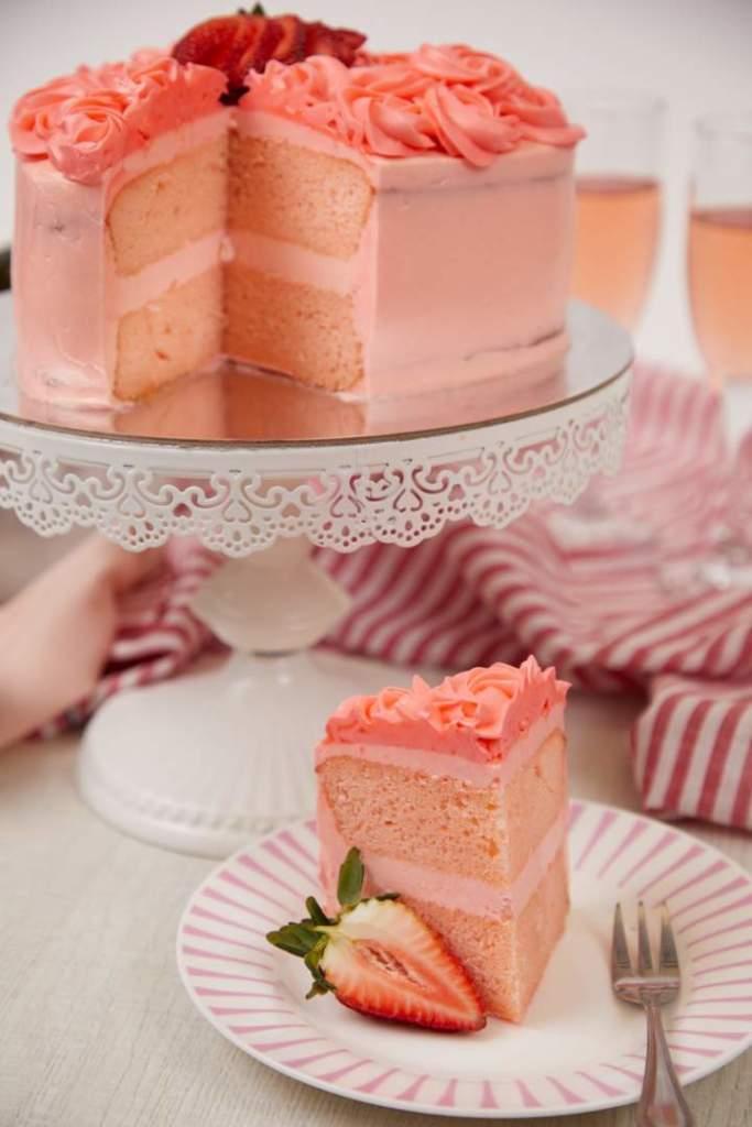 Luscious Pink Rose Layer Cake
