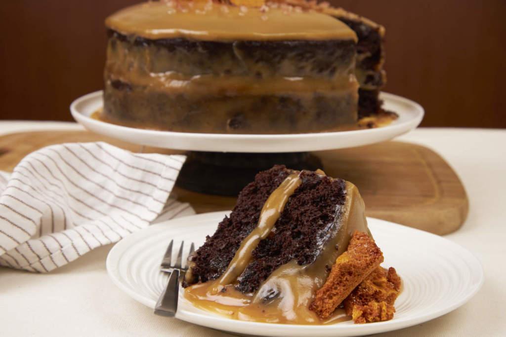 Decadent Salted Caramel Fudge Layered Chocolate Cake w Caramel Crunch