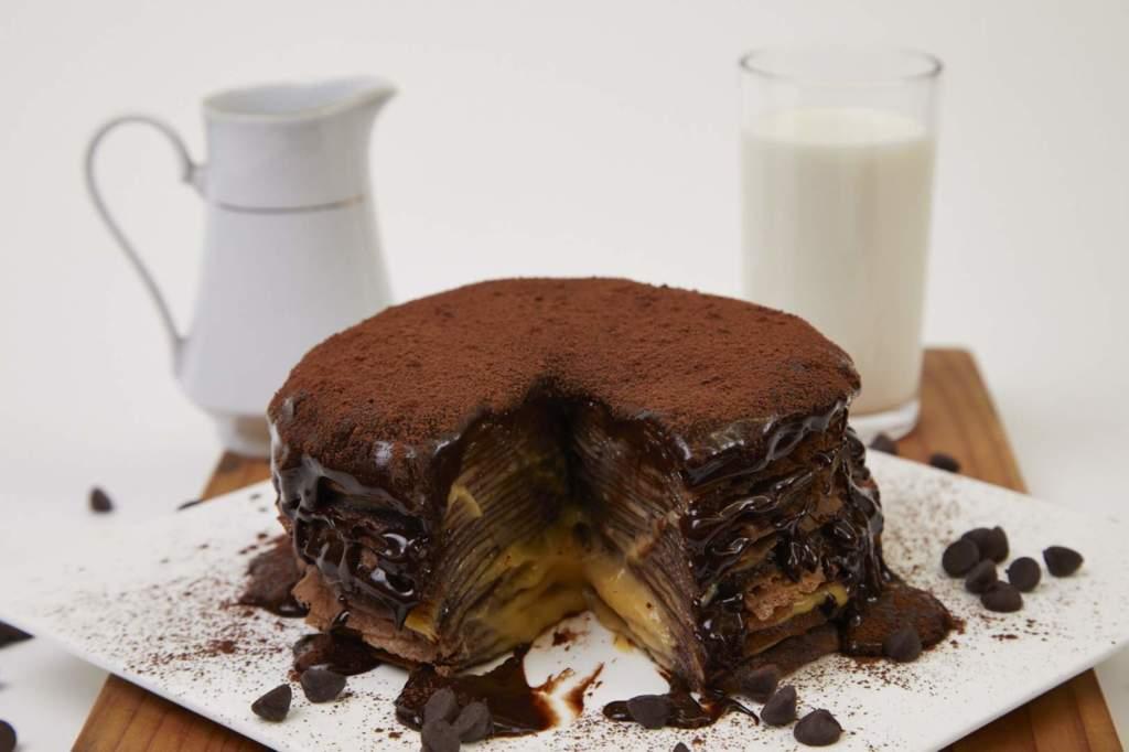 Chocolate Crepe Cake with Rum Custard Filling